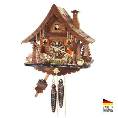Orologio Cucù automa Pescatore in legno marrone scuro 30 cm - Made in Germany