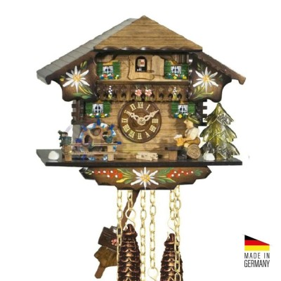 Orologio Cucù con automi e musica in legno marrone scuro 25 cm - Made in Germany