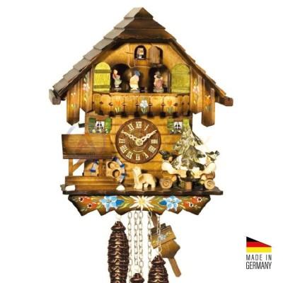 Orologio Cucù con automi, carillon e giostrina in legno 30 cm - Made in Germany