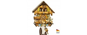 Kuckuck with automata Drinkers and carousel / carillon in wood 30 cm - Made in Germany