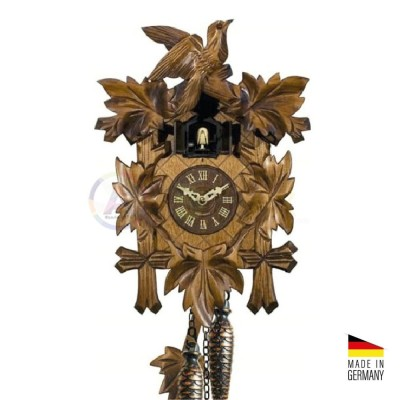 Orologio Cucù al quarzo in legno marrone scuro 'noce' 35 cm - Made in Germany KK3532QN