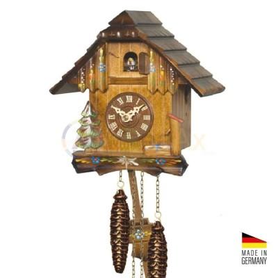 Orologio Cucù al quarzo stile baita in legno marrone 20 cm - Made in Germany KK3420Q
