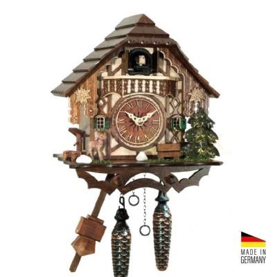 Orologio Cucù al quarzo in legno colorato 25 cm suoneria e musica - Made Germany KK3406QM