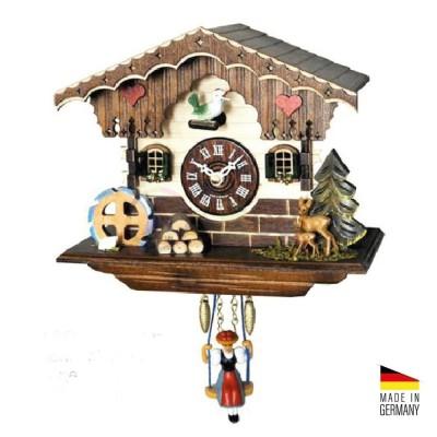 Orologio Cucù baita al quarzo in legno colorato 16 cm - Made in Germany