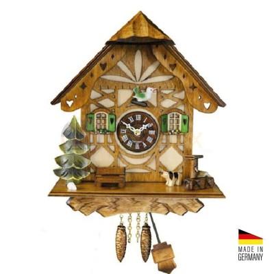 Orologio Cucù baita al quarzo in legno colorato 22 cm - Made in Germany