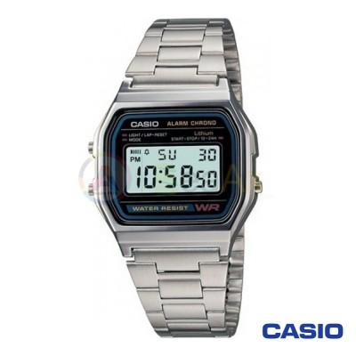 Orologio Casio Vintage A158WA-1DF unisex acciaio digitale quarzo nero A158WA-1DF
