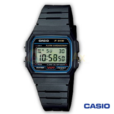 Casio Collection watch F-91W-1YER unisex black quartz digital resin