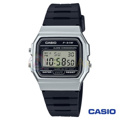 Orologio Casio Collection F-91WM-7AEF unisex resina digitale quarzo nero