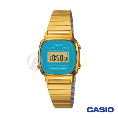 Casio Vintage Watch LA670WGA-2DF woman golden digital black quartz