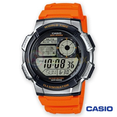 Casio Collection watch AE-1000W-4BVEF man orange quartz digital resin