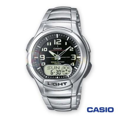 Casio watch digital analogue Illuminator Telememo AQ-180WD-1BVES man steel