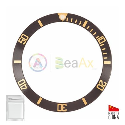 Aluminium bezel insert for Rolex Submariner Black gold index 16613 16618 16803 16808