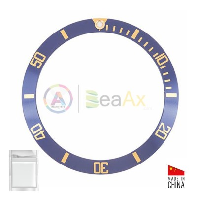 Aluminium bezel insert for Rolex Submariner Blue gold index 16613 16618 16803 16808