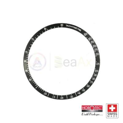 Aluminium bezel insert for Omega Speedmaster black with silver index