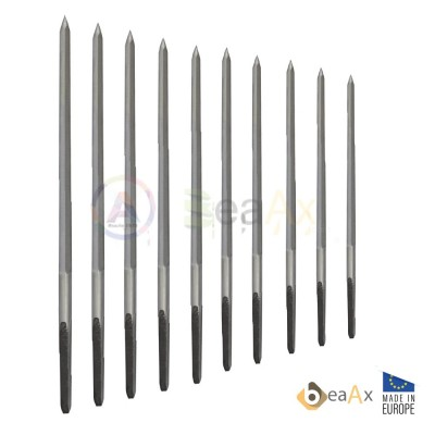Assortment of 5-sided cutting broaches without handle 10 pcs ø 0.90 - 4.00 mm