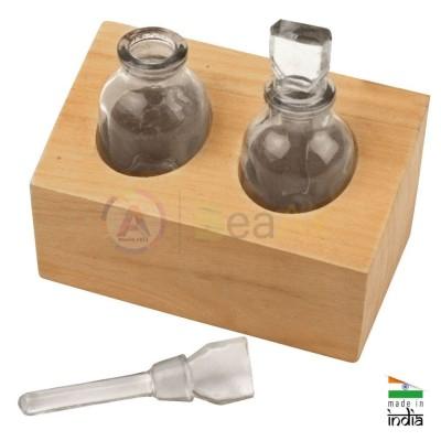Base in legno da banco con 2 flaconi in vetro tondi acidi o liquidi 105x50x38 mm AG0168-K