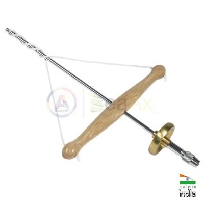 Trapano ad arco archetto da orafo in metallo legno 30 cm doppio mandrino a vite
