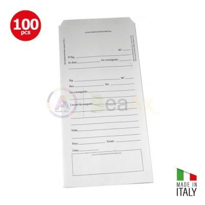 Buste bianche in confezione da 100 pz. prestampate per riparazioni con ricevuta  BUSTE-0100
