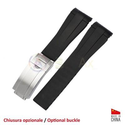 Cinturino silicone nero ansa curva 20 mm con rinforzi compatibile Rolex sportivi