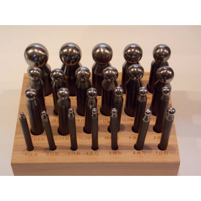 Imbottitori acciaio 24 pz da 2.3 a 25 mm imbottitoi base legno orafo Doming punch