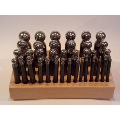 Imbottitori acciaio 36 pz da 3.5 a 25.3 mm imbottitoi base legno orafo Doming punch
