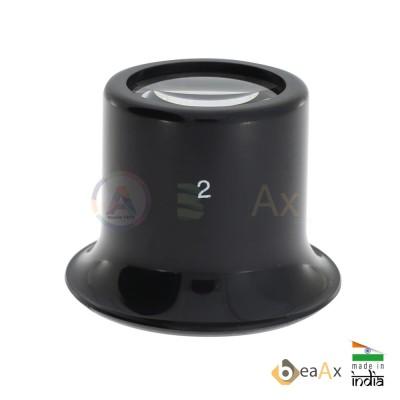 Monocolo da orologiaio in plastica nera forma classica lente minerale ø 24 mm AG0698-S