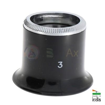 Monocolo plastica nera e ghiera avvitata in alluminio classica lente ø 24 mm AG0705-S