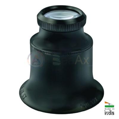 Monocolo di controllo in plastica nera lente minerale doppia con ghiera avvitata AG0712-S