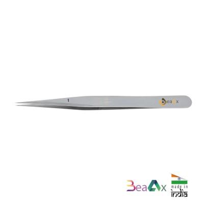 Pinzetta forte n° 1 in acciaio inossidabile con corpo satinato per orologeria AG1481-1