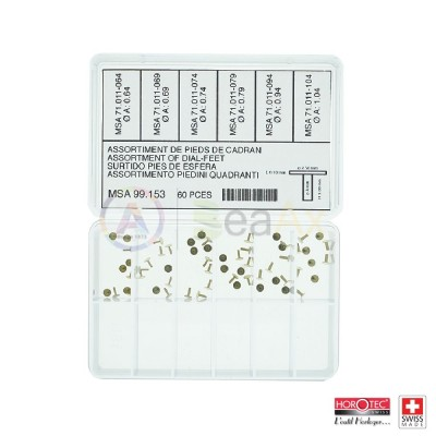 Assortment of 60 adhesive dial feet, length 3 mm, in 6 models, 10 pcs each size
