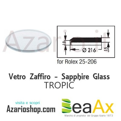 Sapphire glass for Rolex 25.206 Tropic including gasket - Swiss Made