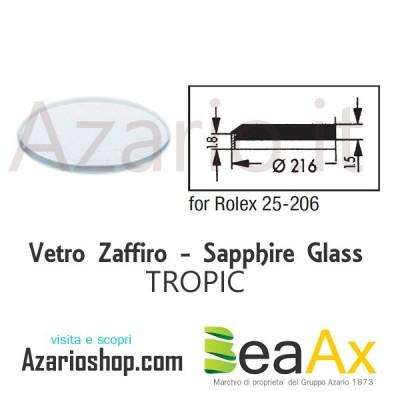 Vetro Zaffiro Rolex Tropic 25.206 senza lente guarnizione inclusa - Swiss Made