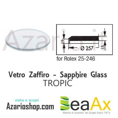 Sapphire glass for Rolex 25.246 Tropic including gasket - Swiss Made