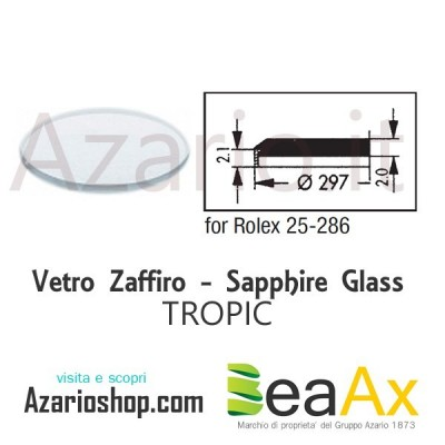 Sapphire glass for Rolex 25.286 Tropic including gasket - Swiss Made