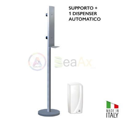 Dispenser automatico per gel disinfettante e supporto a colonna