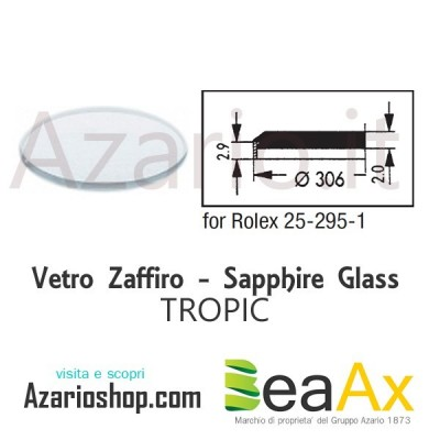 Sapphire glass for Rolex 25.295 Tropic including gasket - Swiss Made