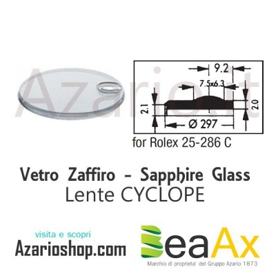Sapphire glass for Rolex 25.286C Cyclop including gasket - Swiss Made