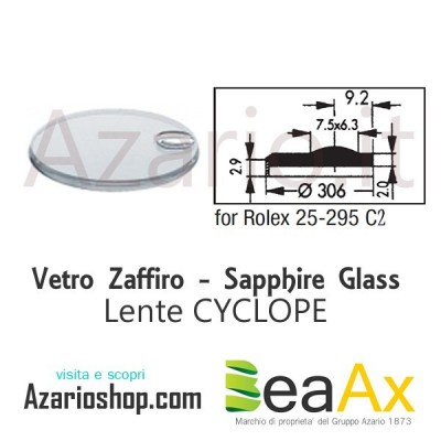 Sapphire glass for Rolex 25.295C2 Cyclop including gasket - Swiss Made