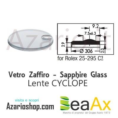 Vetro Zaffiro Rolex Cyclope 25.295C2 con lente guarnizione inclusa - Swiss Made RX.25.295C2