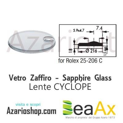 Vetro Zaffiro Rolex Cyclope 25.206C con lente guarnizione inclusa - Swiss Made RX.25.206C