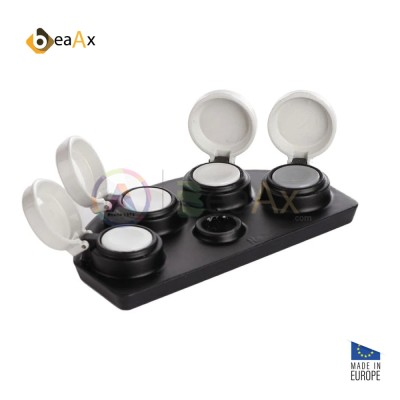 Porta olio in metallo nero 4 posti coperchio anti-polvere e vaschette ceramica