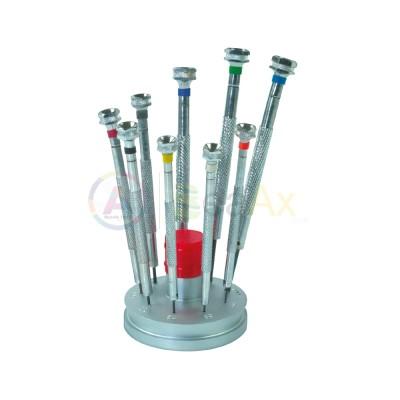 Cacciaviti 9 pz metallo 0.50 - 2.50 mm zoccolo fisso e lame di ricambio acciaio AG2080