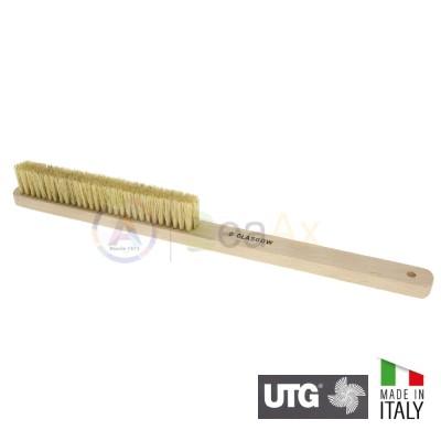 Spazzola retta a mano con setola bianca mezzo dolce 4 ranghi UTG Made in Italy