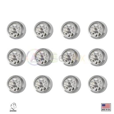 Pre-orecchini in acciaio sterile pietra bianca 12 pz misura standard Studex USA STX-40204