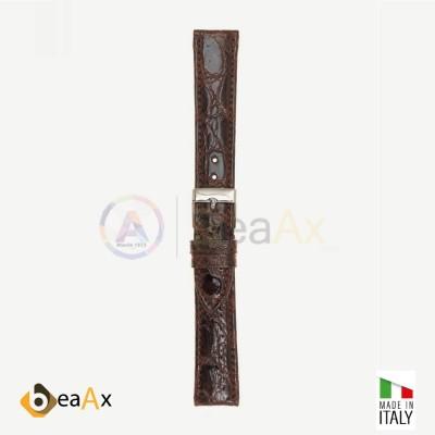 Cinturino vero coccodrillo brasile Marrone scuro fibbia acciaio - Made in Italy