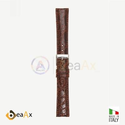 Cinturino vero coccodrillo brasile Marrone fibbia acciaio - Made in Italy PP602-04