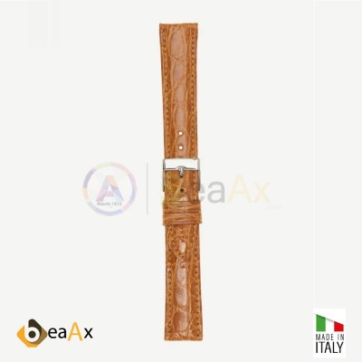 Cinturino vero coccodrillo brasile Miele fibbia acciaio - Made in Italy