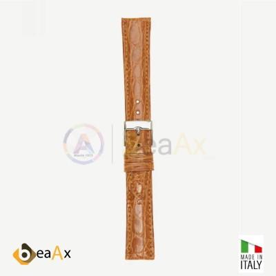 Cinturino vero coccodrillo brasile Miele fibbia acciaio - Made in Italy PP602-05