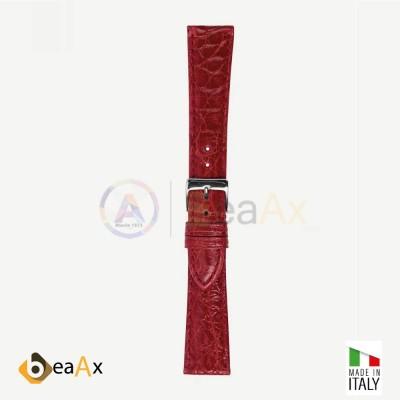 Cinturino vero coccodrillo brasile Rosso fibbia acciaio - Made in Italy PP602-07