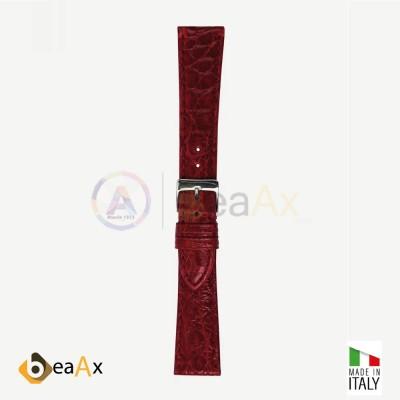 Cinturino vero coccodrillo brasile Rubino fibbia acciaio - Made in Italy